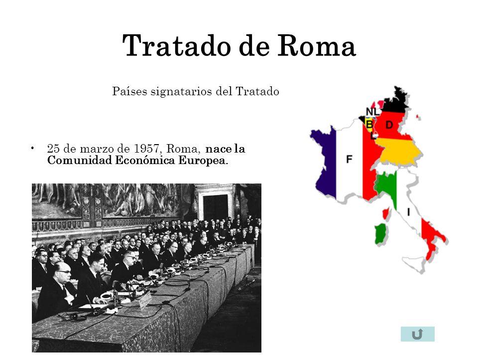 Tratado de Roma Países signatarios del Tratado 25 de marzo de 1957, Roma, nace la Comunidad Económica Europea.