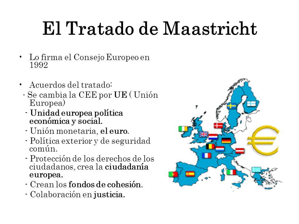 El Tratado de Maastricht Lo firma el Consejo Europeo en 1992 Acuerdos del tratado: - Se cambia la CEE por UE ( Unión Europea) - Unidad europea polític
