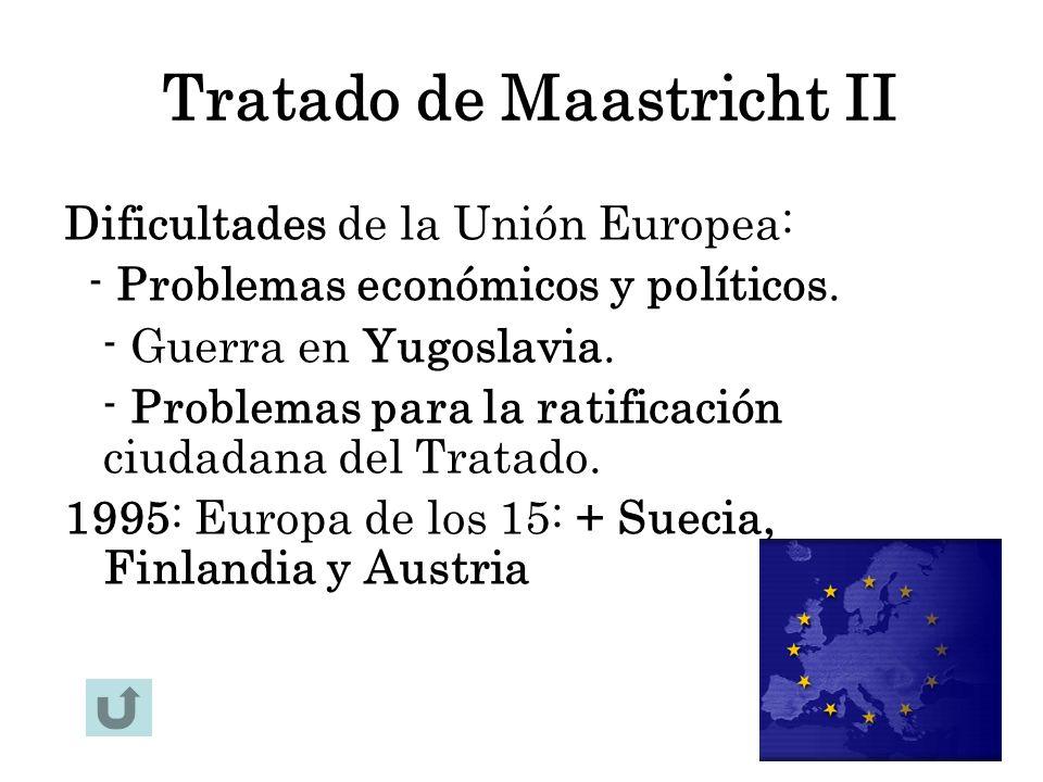 Tratado de Maastricht II Dificultades de la Unión Europea: - Problemas económicos y políticos. - Guerra en Yugoslavia. - Problemas para la ratificació