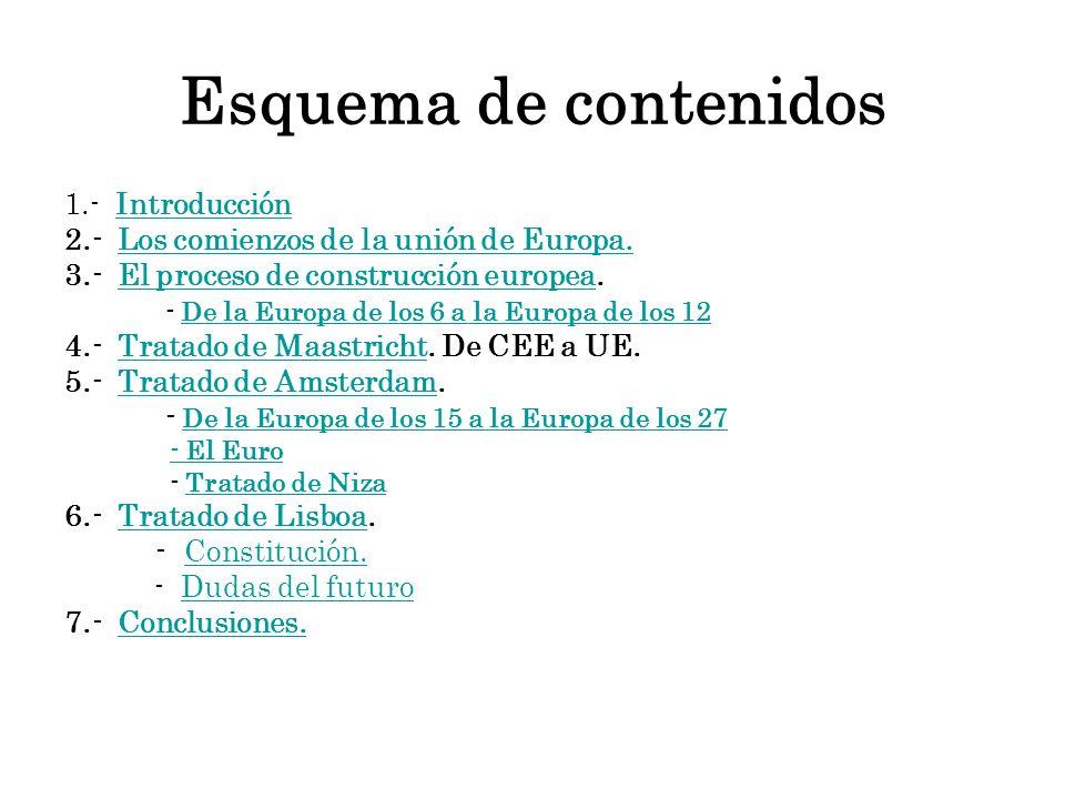Esquema de contenidos 1.- IntroducciónIntroducción 2.- Los comienzos de la unión de Europa.Los comienzos de la unión de Europa. 3.- El proceso de cons