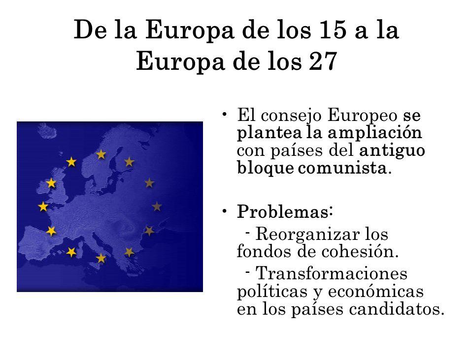 De la Europa de los 15 a la Europa de los 27 El consejo Europeo se plantea la ampliación con países del antiguo bloque comunista. Problemas: - Reorgan