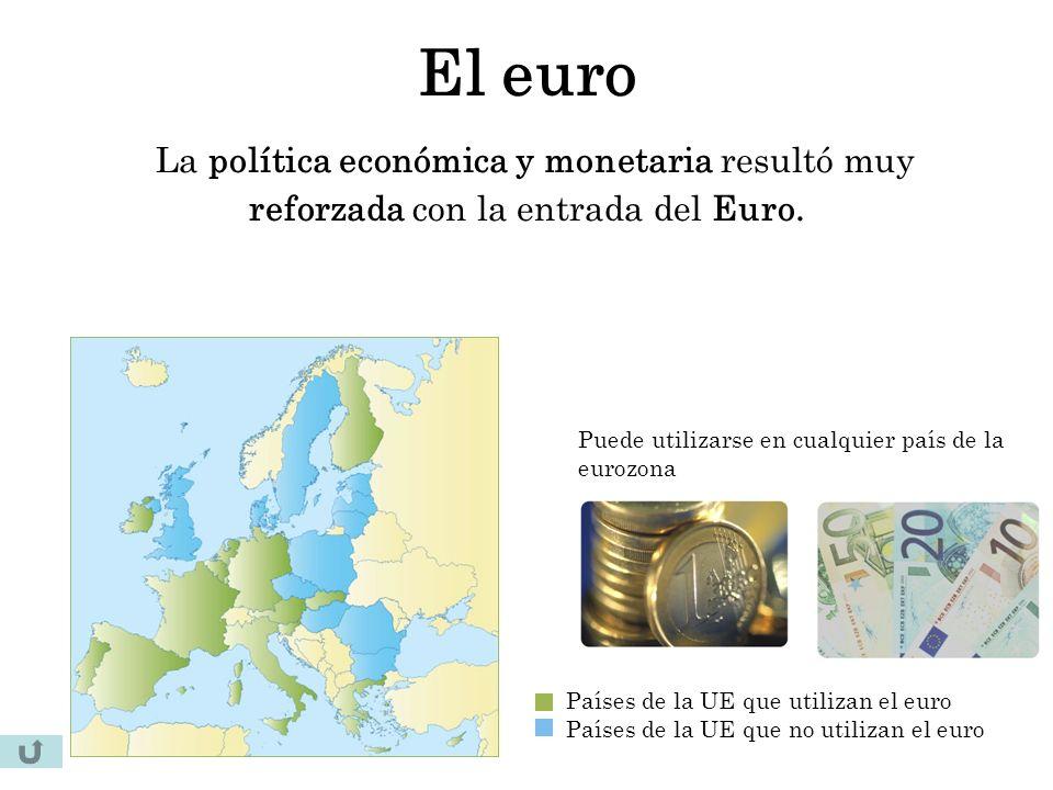 El euro La política económica y monetaria resultó muy reforzada con la entrada del Euro. Países de la UE que utilizan el euro Países de la UE que no u
