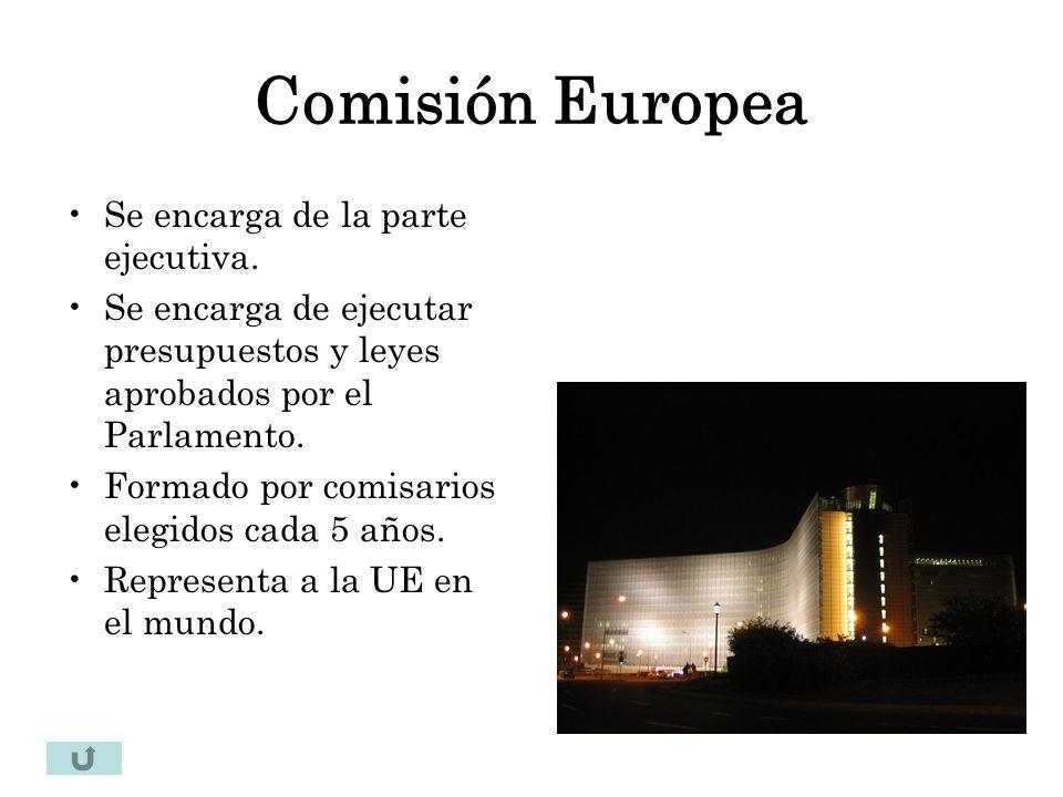 Comisión Europea Se encarga de la parte ejecutiva. Se encarga de ejecutar presupuestos y leyes aprobados por el Parlamento. Formado por comisarios ele