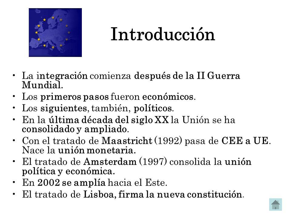 Introducción La integración comienza después de la II Guerra Mundial. Los primeros pasos fueron económicos. Los siguientes, también, políticos. En la