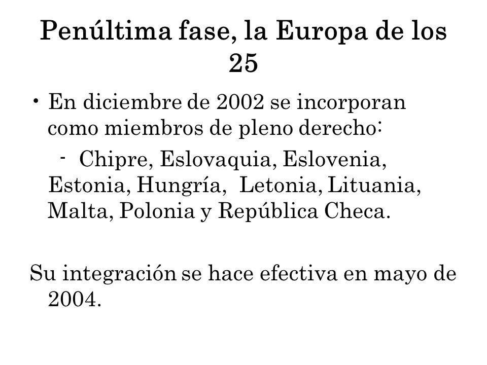 Penúltima fase, la Europa de los 25 En diciembre de 2002 se incorporan como miembros de pleno derecho: - Chipre, Eslovaquia, Eslovenia, Estonia, Hungría, Letonia, Lituania, Malta, Polonia y República Checa.