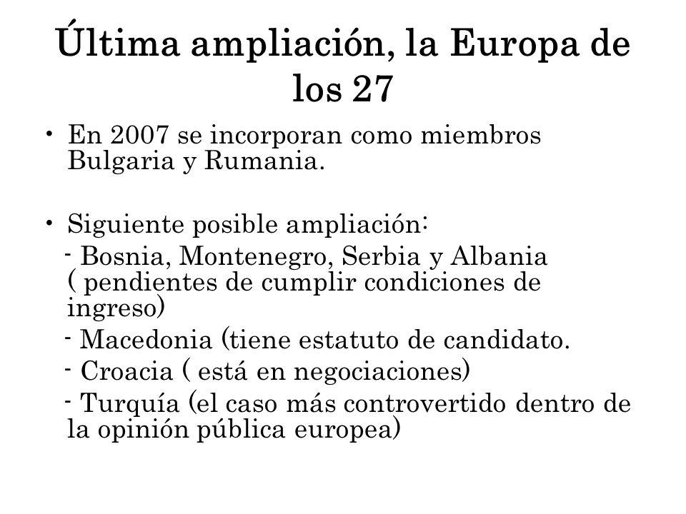Última ampliación, la Europa de los 27 En 2007 se incorporan como miembros Bulgaria y Rumania. Siguiente posible ampliación: - Bosnia, Montenegro, Ser