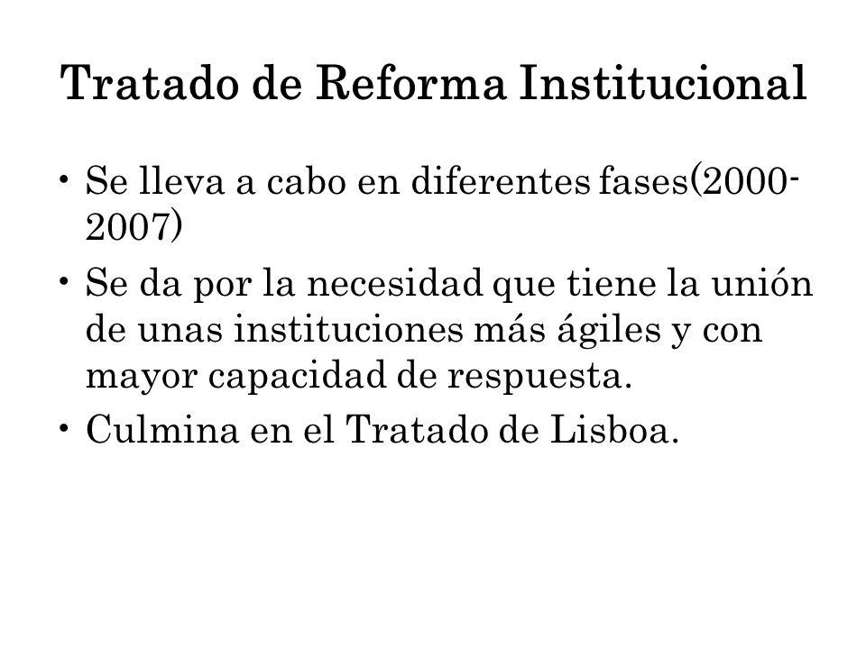 Se lleva a cabo en diferentes fases(2000- 2007) Se da por la necesidad que tiene la unión de unas instituciones más ágiles y con mayor capacidad de re