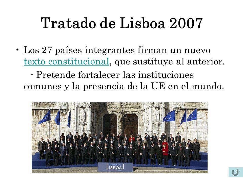 Tratado de Lisboa 2007 Los 27 países integrantes firman un nuevo texto constitucional, que sustituye al anterior. texto constitucional - Pretende fort