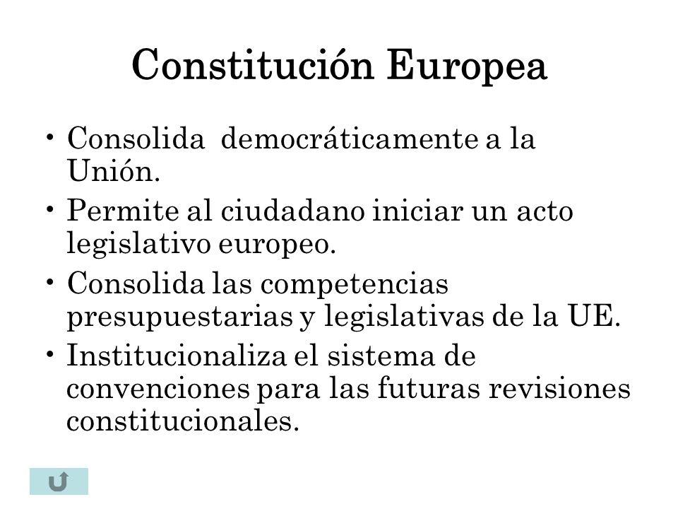Constitución Europea Consolida democráticamente a la Unión. Permite al ciudadano iniciar un acto legislativo europeo. Consolida las competencias presu