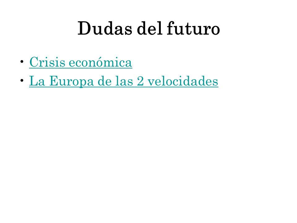 Dudas del futuro Crisis económica La Europa de las 2 velocidades