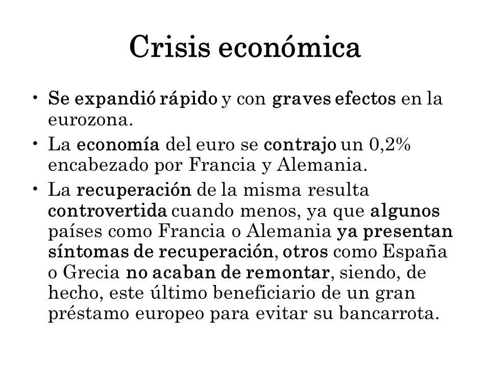 Crisis económica Se expandió rápido y con graves efectos en la eurozona. La economía del euro se contrajo un 0,2% encabezado por Francia y Alemania. L