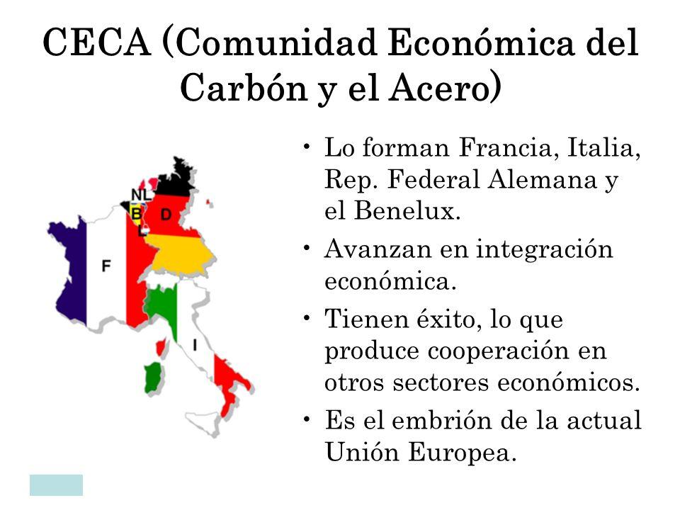 CECA (Comunidad Económica del Carbón y el Acero) Lo forman Francia, Italia, Rep. Federal Alemana y el Benelux. Avanzan en integración económica. Tiene