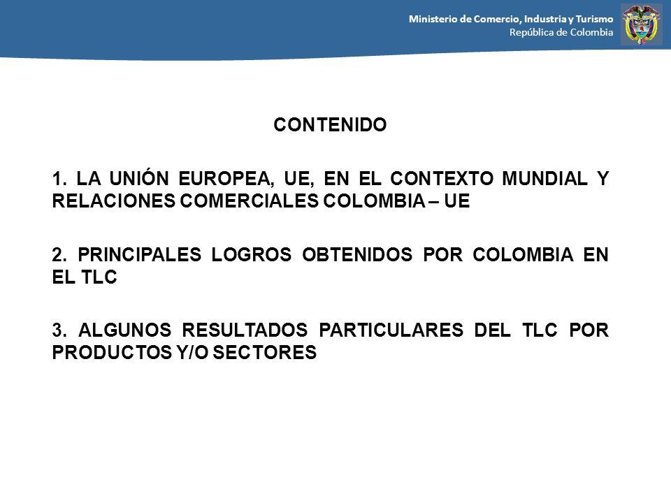 Ministerio de Comercio, Industria y Turismo República de Colombia CONTENIDO 1. LA UNIÓN EUROPEA, UE, EN EL CONTEXTO MUNDIAL Y RELACIONES COMERCIALES C