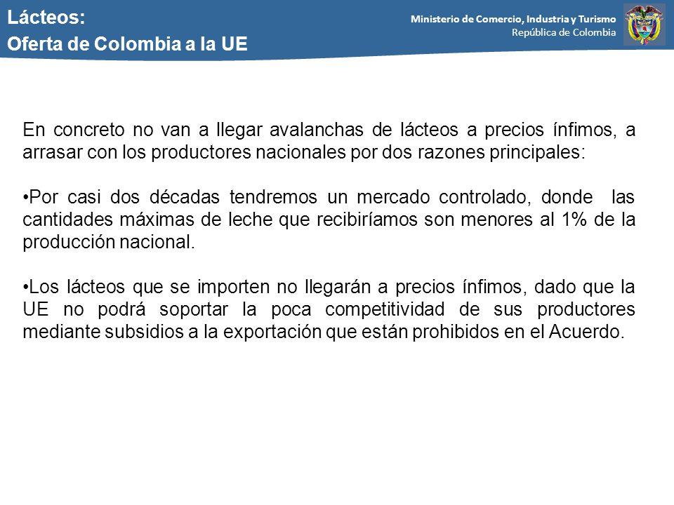 Ministerio de Comercio, Industria y Turismo República de Colombia Lácteos: Oferta de Colombia a la UE En concreto no van a llegar avalanchas de lácteos a precios ínfimos, a arrasar con los productores nacionales por dos razones principales: Por casi dos décadas tendremos un mercado controlado, donde las cantidades máximas de leche que recibiríamos son menores al 1% de la producción nacional.