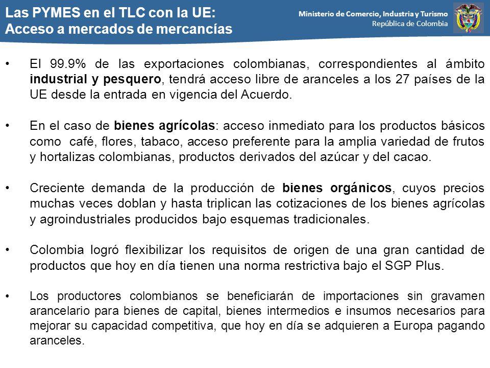 Ministerio de Comercio, Industria y Turismo República de Colombia Las PYMES en el TLC con la UE: Acceso a mercados de mercancías El 99.9% de las exportaciones colombianas, correspondientes al ámbito industrial y pesquero, tendrá acceso libre de aranceles a los 27 países de la UE desde la entrada en vigencia del Acuerdo.