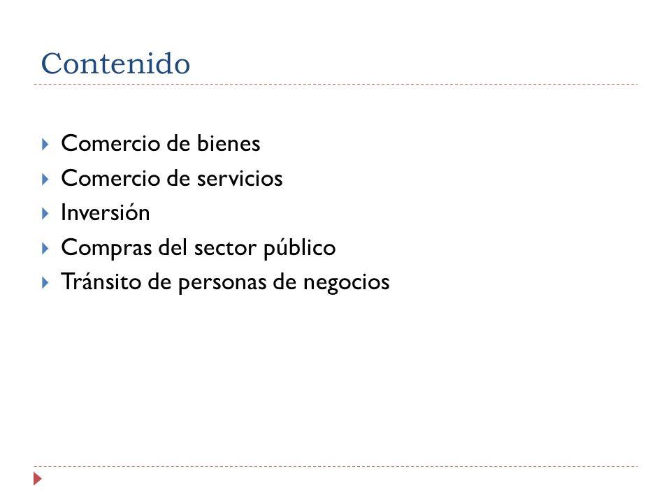 Contenido Comercio de bienes Comercio de servicios Inversión Compras del sector público Tránsito de personas de negocios