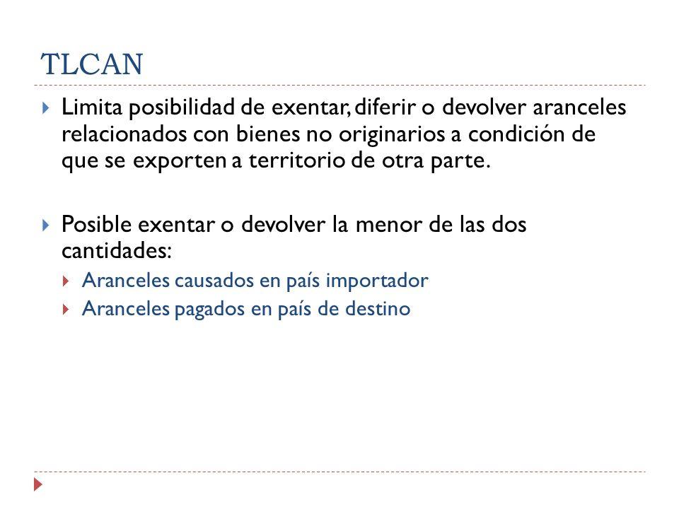 TLCAN Limita posibilidad de exentar, diferir o devolver aranceles relacionados con bienes no originarios a condición de que se exporten a territorio de otra parte.