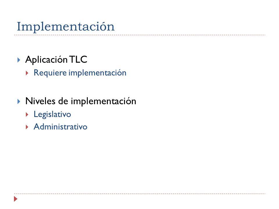 Implementación Aplicación TLC Requiere implementación Niveles de implementación Legislativo Administrativo