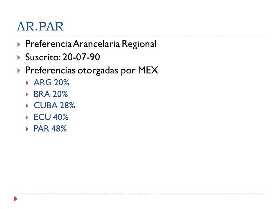 AR.PAR Preferencia Arancelaria Regional Suscrito: 20-07-90 Preferencias otorgadas por MEX ARG 20% BRA 20% CUBA 28% ECU 40% PAR 48%