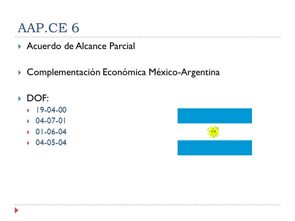 AAP.CE 6 Acuerdo de Alcance Parcial Complementación Económica México-Argentina DOF: 19-04-00 04-07-01 01-06-04 04-05-04