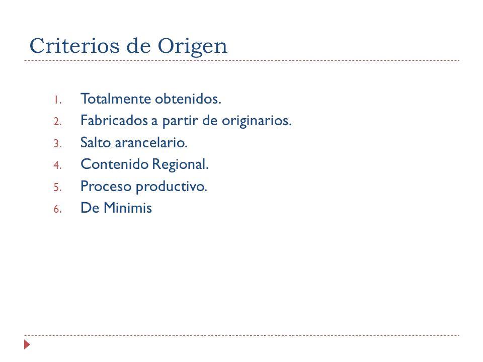 Criterios de Origen 1. Totalmente obtenidos. 2. Fabricados a partir de originarios. 3. Salto arancelario. 4. Contenido Regional. 5. Proceso productivo