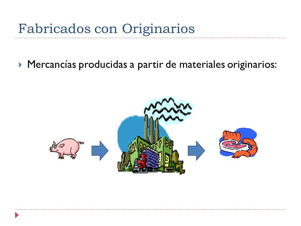 Fabricados con Originarios Mercancías producidas a partir de materiales originarios: