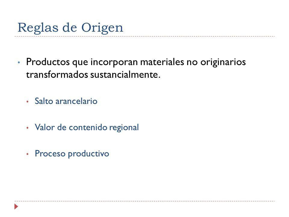 Reglas de Origen Productos que incorporan materiales no originarios transformados sustancialmente. Salto arancelario Valor de contenido regional Proce