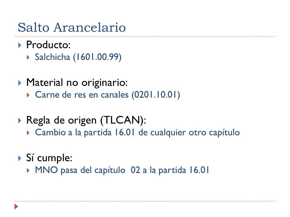 Salto Arancelario Producto: Salchicha (1601.00.99) Material no originario: Carne de res en canales (0201.10.01) Regla de origen (TLCAN): Cambio a la p