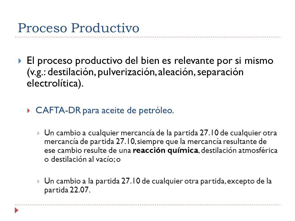 Proceso Productivo El proceso productivo del bien es relevante por si mismo (v.g.: destilación, pulverización, aleación, separación electrolítica). CA