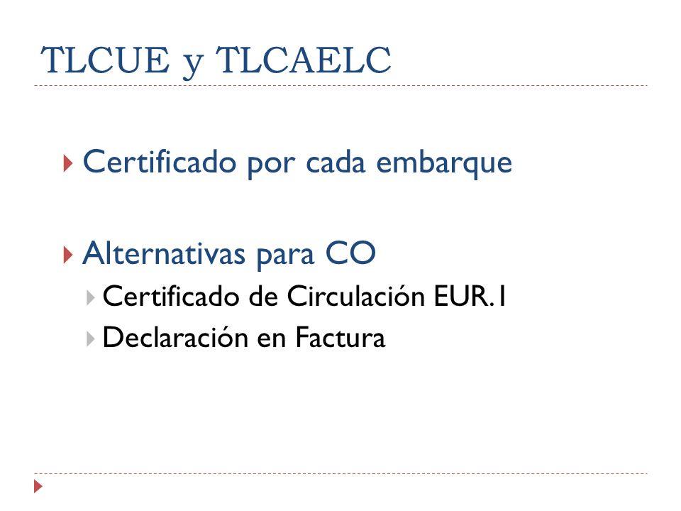 TLCUE y TLCAELC Certificado por cada embarque Alternativas para CO Certificado de Circulación EUR.1 Declaración en Factura