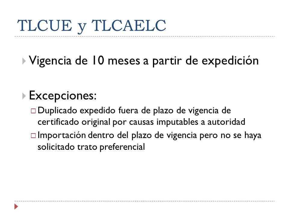 TLCUE y TLCAELC Vigencia de 10 meses a partir de expedición Excepciones: Duplicado expedido fuera de plazo de vigencia de certificado original por cau