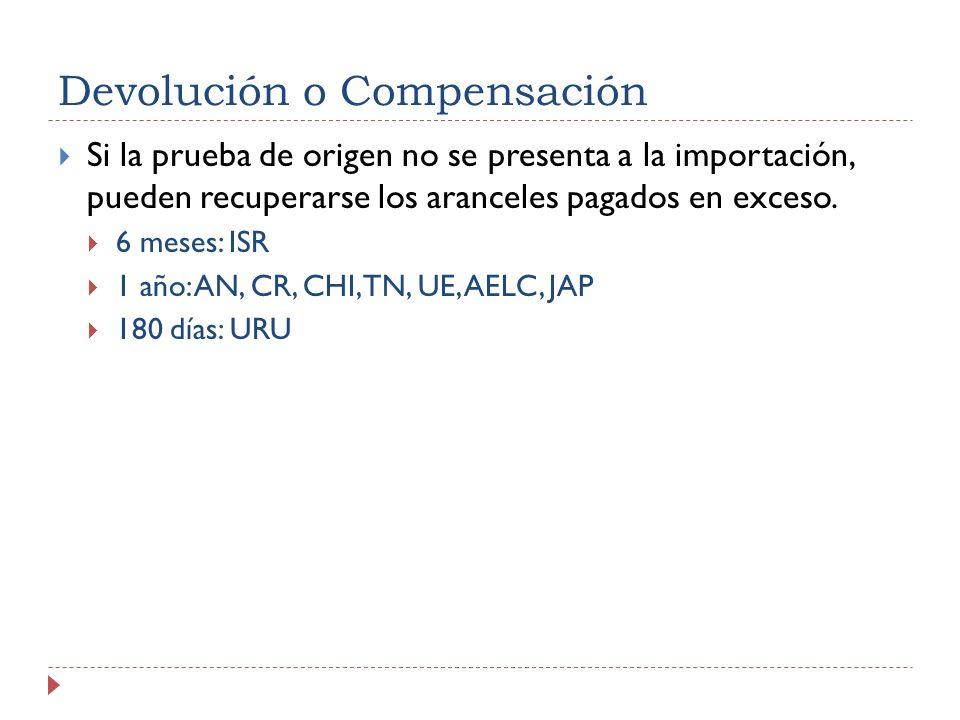 Devolución o Compensación Si la prueba de origen no se presenta a la importación, pueden recuperarse los aranceles pagados en exceso. 6 meses: ISR 1 a