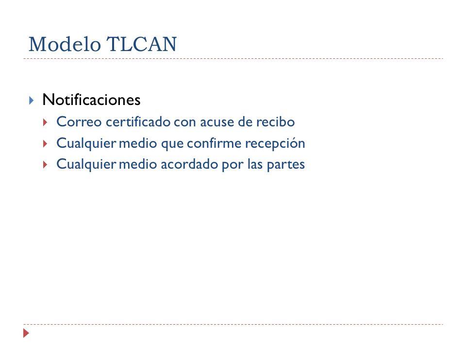 Modelo TLCAN Notificaciones Correo certificado con acuse de recibo Cualquier medio que confirme recepción Cualquier medio acordado por las partes