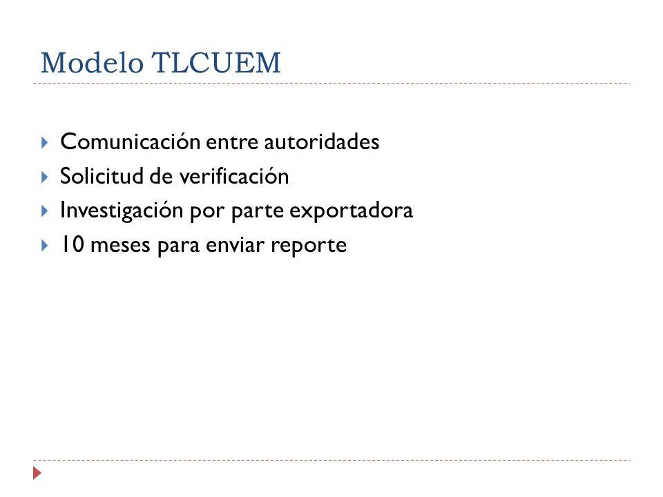 Modelo TLCUEM Comunicación entre autoridades Solicitud de verificación Investigación por parte exportadora 10 meses para enviar reporte