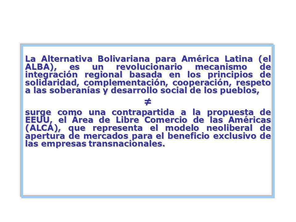 CREACIÓN DEL ALBA El ALBA se constituyó en La Habana (Cuba) el 14 de diciembre de 2004 por el acuerdo de Venezuela y Cuba.