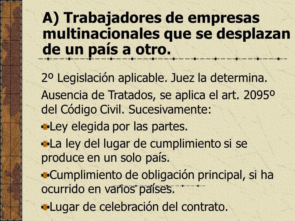 A) Trabajadores de empresas multinacionales que se desplazan de un país a otro. 2º Legislación aplicable. Juez la determina. Ausencia de Tratados, se