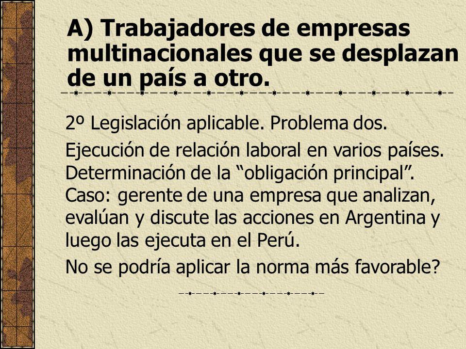A) Trabajadores de empresas multinacionales que se desplazan de un país a otro. 2º Legislación aplicable. Problema dos. Ejecución de relación laboral