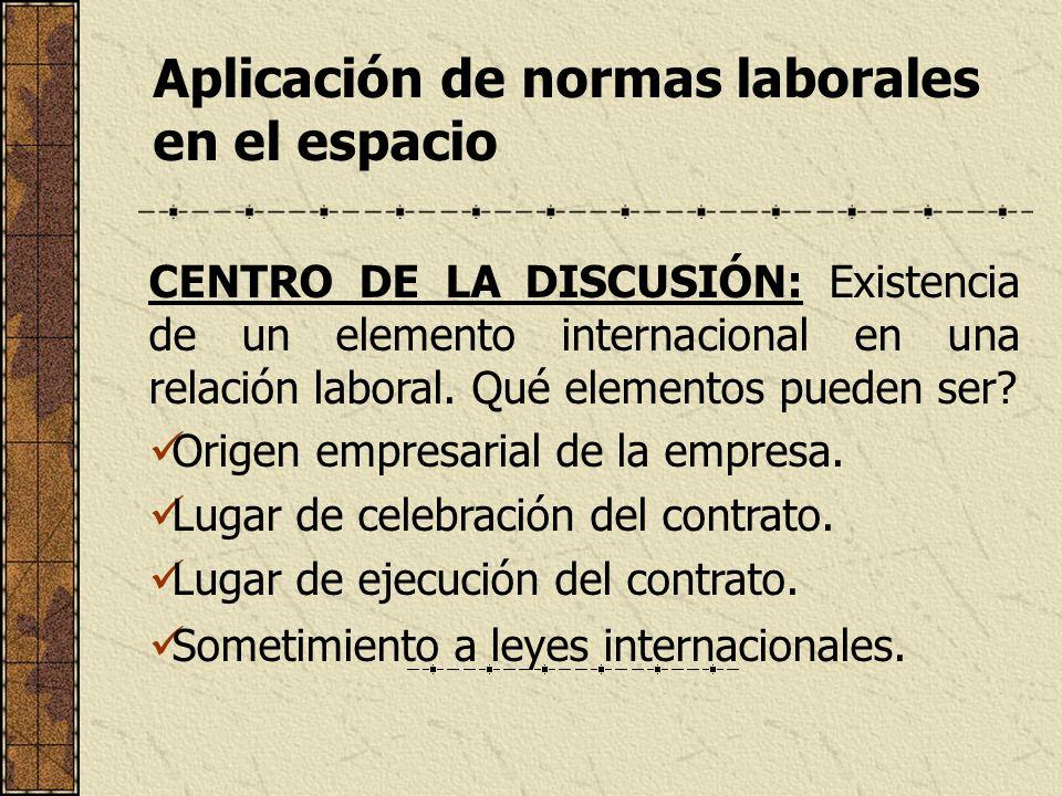 Aplicación de normas laborales en el espacio CENTRO DE LA DISCUSIÓN: Existencia de un elemento internacional en una relación laboral. Qué elementos pu