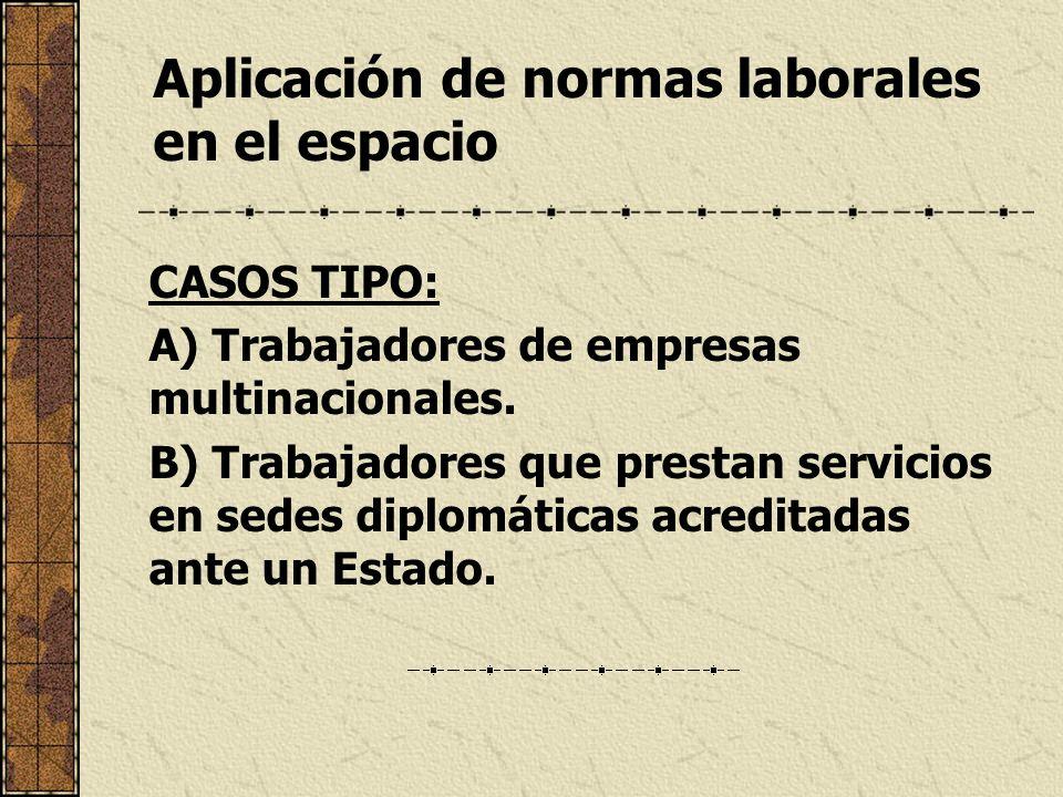 Aplicación de normas laborales en el espacio CASOS TIPO: A) Trabajadores de empresas multinacionales. B) Trabajadores que prestan servicios en sedes d