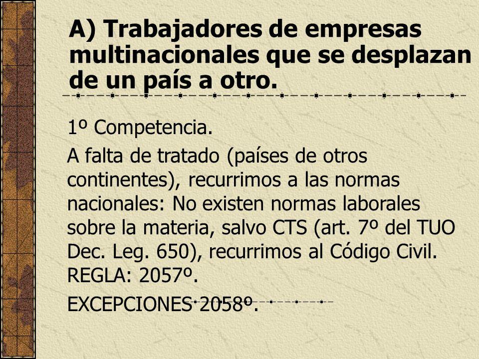A) Trabajadores de empresas multinacionales que se desplazan de un país a otro. 1º Competencia. A falta de tratado (países de otros continentes), recu