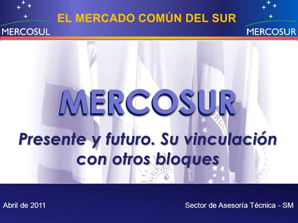 EL MERCADO COMÚN DEL SUR MERCOSUR Abril de 2011 Sector de Asesoría Técnica - SM MERCOSUR Presente y futuro. Su vinculación con otros bloques