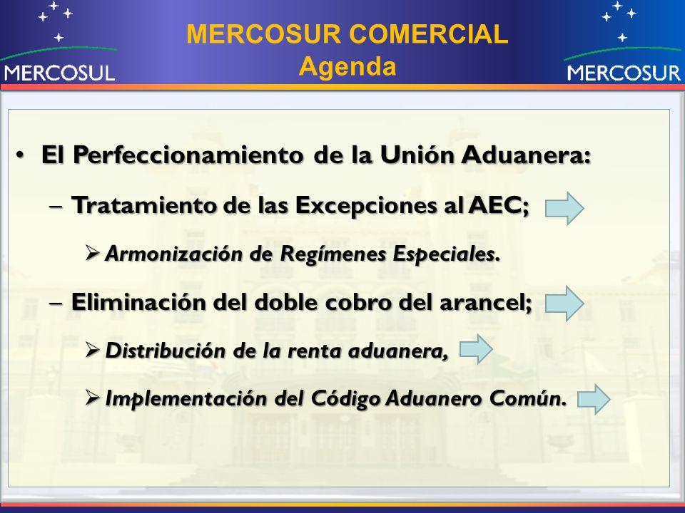 El Perfeccionamiento de la Unión Aduanera:El Perfeccionamiento de la Unión Aduanera: –Tratamiento de las Excepciones al AEC; Armonización de Regímenes