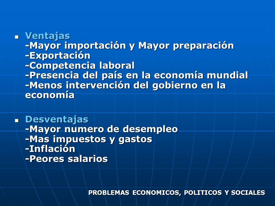 Ventajas -Mayor importación y Mayor preparación -Exportación -Competencia laboral -Presencia del país en la economía mundial -Menos intervención del g