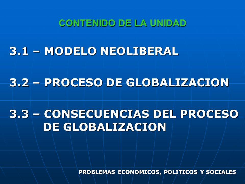 CONTENIDO DE LA UNIDAD 3.1 – MODELO NEOLIBERAL 3.2 – PROCESO DE GLOBALIZACION 3.3 – CONSECUENCIAS DEL PROCESO DE GLOBALIZACION PROBLEMAS ECONOMICOS, P