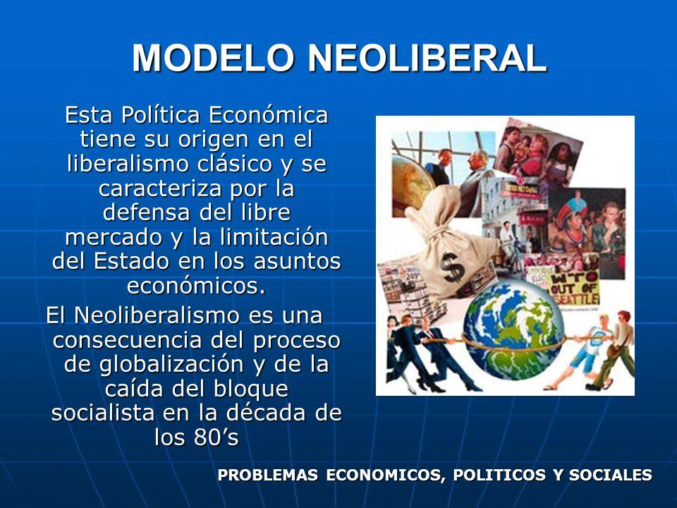 MODELO NEOLIBERAL PROBLEMAS ECONOMICOS, POLITICOS Y SOCIALES Esta Política Económica tiene su origen en el liberalismo clásico y se caracteriza por la