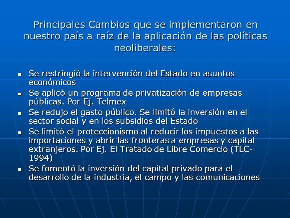 Principales Cambios que se implementaron en nuestro país a raíz de la aplicación de las políticas neoliberales: Se restringió la intervención del Esta