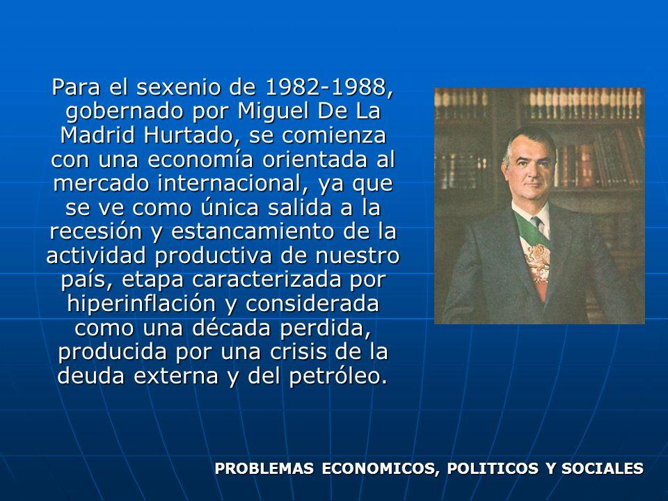 Para el sexenio de 1982-1988, gobernado por Miguel De La Madrid Hurtado, se comienza con una economía orientada al mercado internacional, ya que se ve