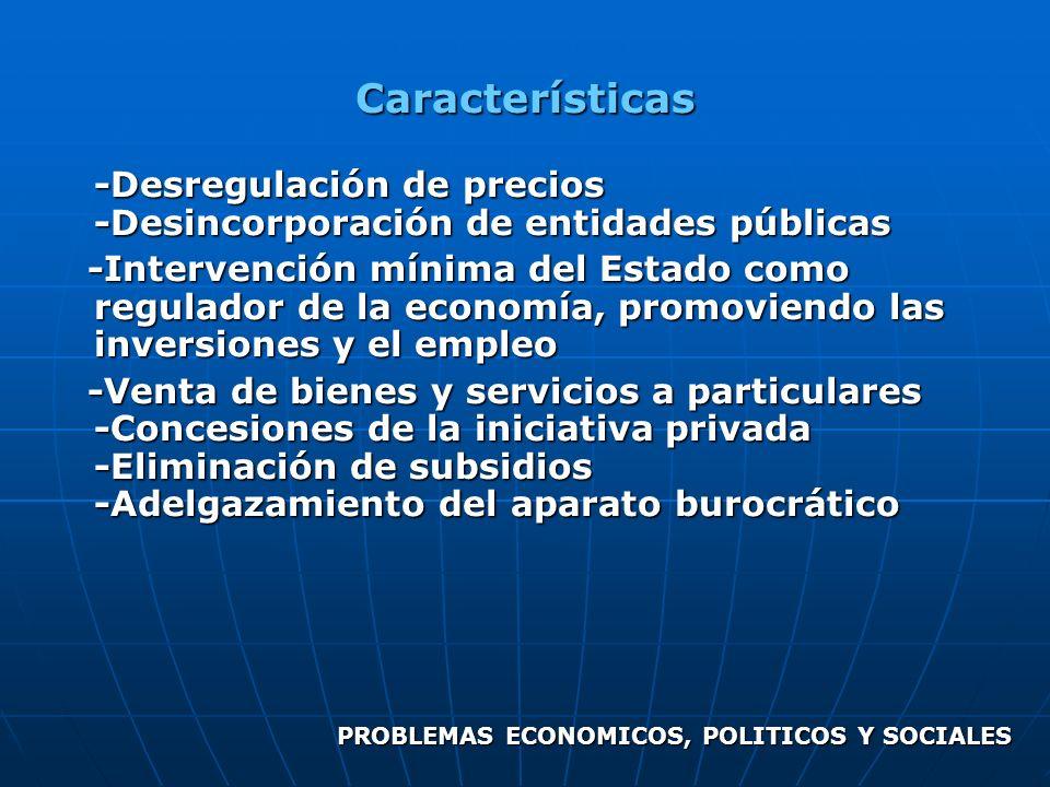 Características -Desregulación de precios -Desincorporación de entidades públicas -Intervención mínima del Estado como regulador de la economía, promo