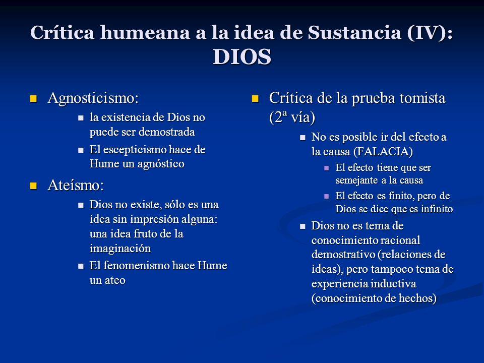 Crítica humeana a la idea de Sustancia (IV): DIOS Agnosticismo: Agnosticismo: la existencia de Dios no puede ser demostrada la existencia de Dios no p