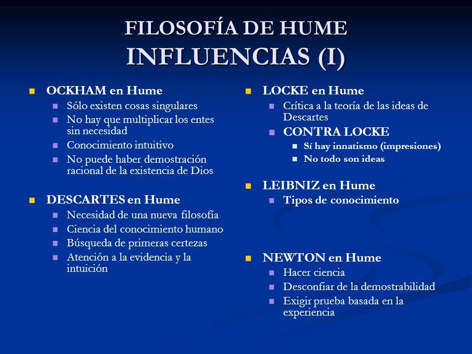 FILOSOFÍA DE HUME INFLUENCIAS (I) OCKHAM en Hume Sólo existen cosas singulares No hay que multiplicar los entes sin necesidad Conocimiento intuitivo N